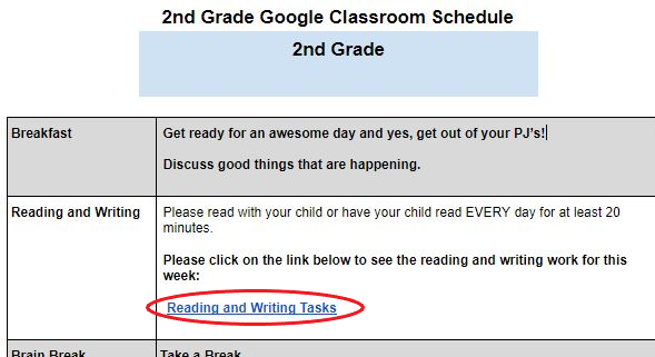 Google Classroom Schedule with Reading and Writing Tasks Highlighted